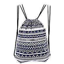 "Рюкзак-мешок ""Орнамент"" Ivory+Blue"