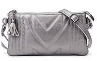 Мини-сумка женская из натуральной кожи Firena Diana, серебристая