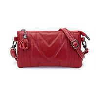 Мини-сумка женская из натуральной кожи Firena Diana, красная