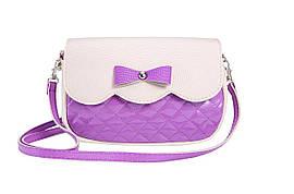 3-279 фиол - Сумка женская фиолетовая с бежевым