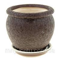 Горшок керамический для пересадки цветов Вьетнам №4 шелк шоколад