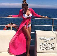 Пляжный халат в пол розовый