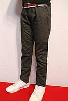 Осенние, стрейчевые котоновые брюки темно-серого цвета, для мальчиков от 4 до 12 лет (116-152см.). Польша