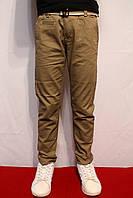 Осенние стрейчевые котоновые брюки песочного цвета, для мальчиков от 4 до 12 лет.(116-146см) Польша