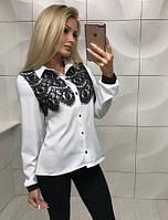 Красивая женская блузка блуза с кружевом на пуговицах белая S-M M-L