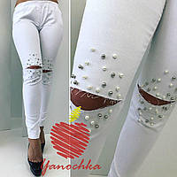 Женские летние  батальные джинсы с жемчугом