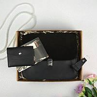 Подарочный набор кожаный женский черный велюр (сумка, кошелек, брелок, открытка) ручная работа
