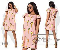 Женское платье из вискозы с модным принтом