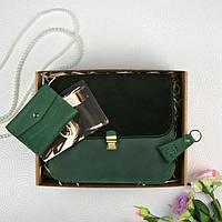 Подарочный набор кожаный женский зеленый велюр (сумка, кошелек, брелок, открытка) ручная работа