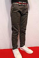 Осенние, стрейчевые котоновые брюки темно-серого цвета, для подростков от 8 до 16 лет(134-164см).(Осень-2017г)