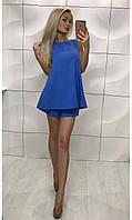 Стильный женский костюм свободная расклешенная блузка кофточка и шорты сине фиолетовый 42-44 44-46 лето2017!!!