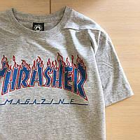 Thrasher magazine - футболка серая / бирка, фото 1