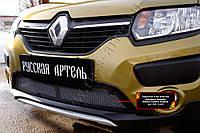 Защитная сетка решетки переднего бампера Renault Sandero Stepway 2014+ г.в. Рено Сандеро Степвей