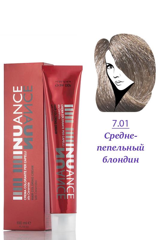 Nuance Крем краска для волос 7.01 средне пепельно русый 100 мл Код 4036