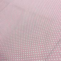 Ткань с густыми белыми горошками 3 мм на розово-персиковом фоне, фото 1