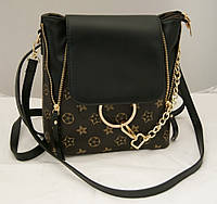 Женский стильный чёрный мини-рюкзак из кожзама LV