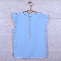 """Школьная блузка с подвеской """"Однотонная"""" для девочек. 128-152 см. Нежно-голубая. Школьная форма оптом"""