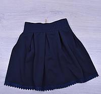 """Юбка школьная """"Кружево"""" для девочек. 6-10 лет. Темно-синяя. Школьная форма оптом"""