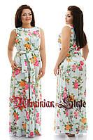 Длинное батальное шелковое летнее платье в цветочный принт