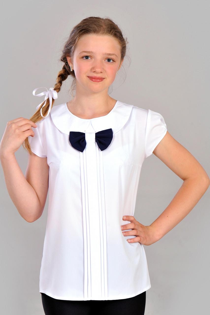 Модна витончена шкільна біла блуза для дівчинки р. 146-152