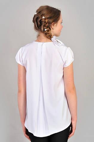 Модна витончена шкільна біла блуза для дівчинки р. 146-152, фото 2