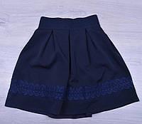 """Юбка школьная """"Розочка"""" для девочек. 6-10 лет. Темно-синяя. Школьная форма оптом"""