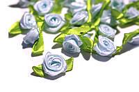 Розочки из атласной ленты, голубые  24шт