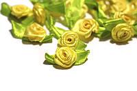 Розочки из атласной ленты, желтые 24шт