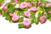 Розочки из атласной ленты, розовые 24шт