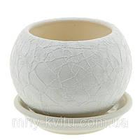 Горшок керамический для пересадки цветов Шар 0,4л шелк білий, фото 1