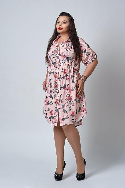 e7d25f55f76cf Купить Стильное женское платье - рубашка с цветочным принтом в ...