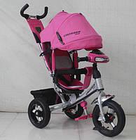 Детский Трехколесный велосипед Azimut Modi Crosser One T1 AIR фара надувные колеса, малиновый