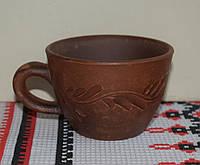 Глиняная чашка для кофе с узором. Объем 150 мл. (глиняная посуда)