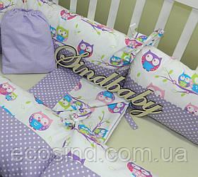 """Комплект в кроватку """"Совенок"""" 6 бортиков с постельным"""