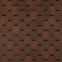 Битумная черепица ROOFCOLOR (Руфколор) ECO Hexagon (гексагональ, сота) коричневый