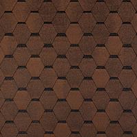 Битумная черепица ROOFCOLOR  ECO Hexagon  коричневый
