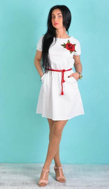 Платье из льна с цветком (в расцветках)