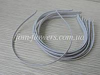 Обруч для волос металлический в атласной оплетке, белый 0,45 см.