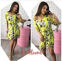 Ярко-желтое шифоновое платье