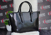 Шикарная, черная  женская КОЖАНАЯ сумка.