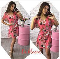 Ярко-розовое шифоновое платье