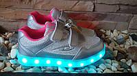 Детские светящиеся кроссовки с LED подсветкой и USB зарядным р.28-32