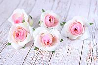 Роза мини (головка), 25 шт/уп, диаметр 3.5 - 4 см, бело-розового цвета оптом, фото 1