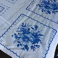 Ситец платочный для женских и детских носовых платков с голубыми рисунками, фото 1