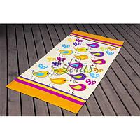 Полотенце Lotus пляжное - Birds желтый 75*150 велюр