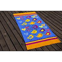 Полотенце Lotus пляжное - Birds оранжевый 75*150 велюр