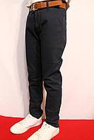 Осенние стрейчевые котоновые брюки темно-синего цвета для мальчиков от 4-12лет(116-152см)(Школа-2017г) Xu Wear