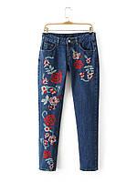 Джинсы женские W100 Zara с вышивкой реплика