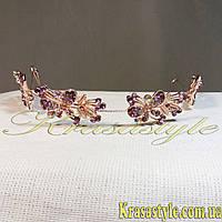 Тиара с листочками, золото Бабочки 327