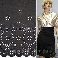 Замша искусственная черная с выбитым односторон. купоном ш.150 см.  ткань